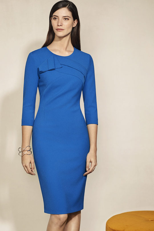 Kenley Dress Cerulian Blue Crepe