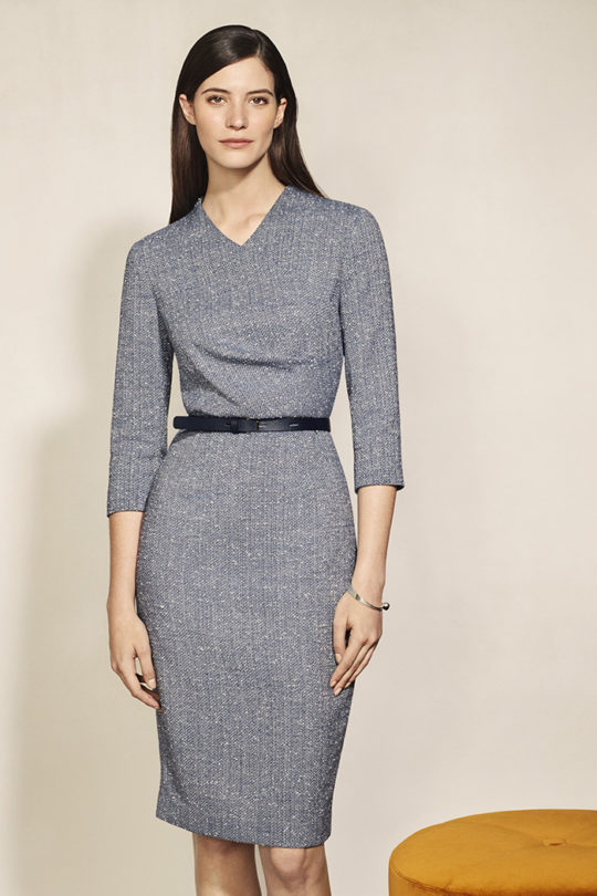 Westbourne Dress Sky Blue Stretch Tweed 1