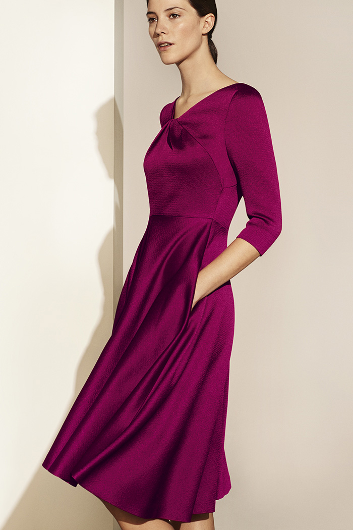 Bellevue Dress Dark Magenta Textured Satin