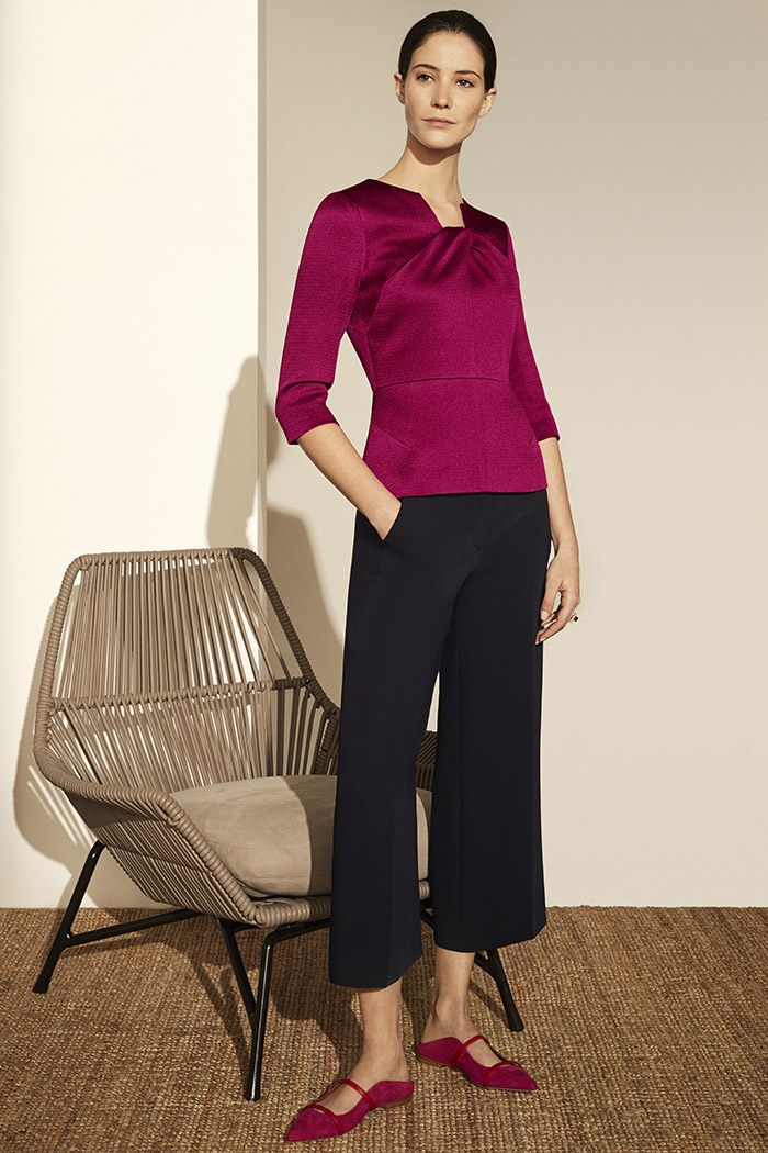 Belmore Top Dark Magenta Textured Satin