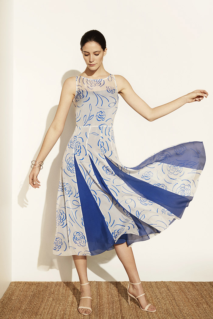 Sandbourne Dress Blue Print Silk Chiffon