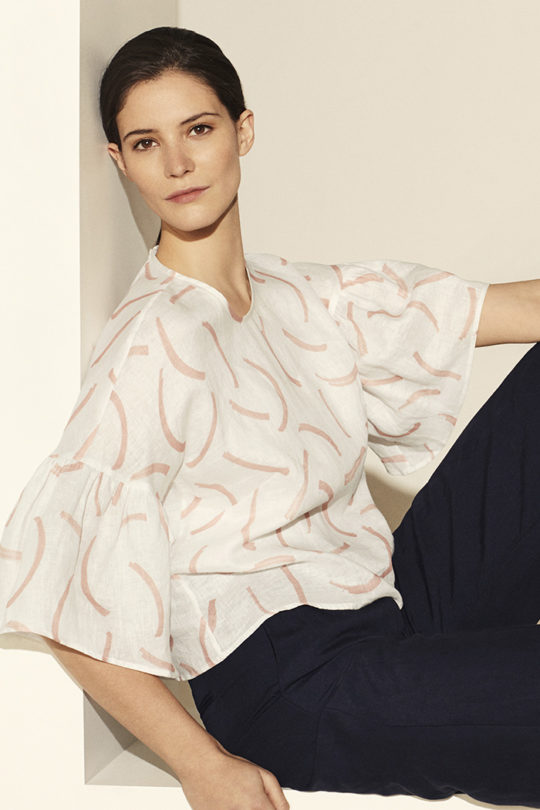 Ives Top Ivory Print Linen