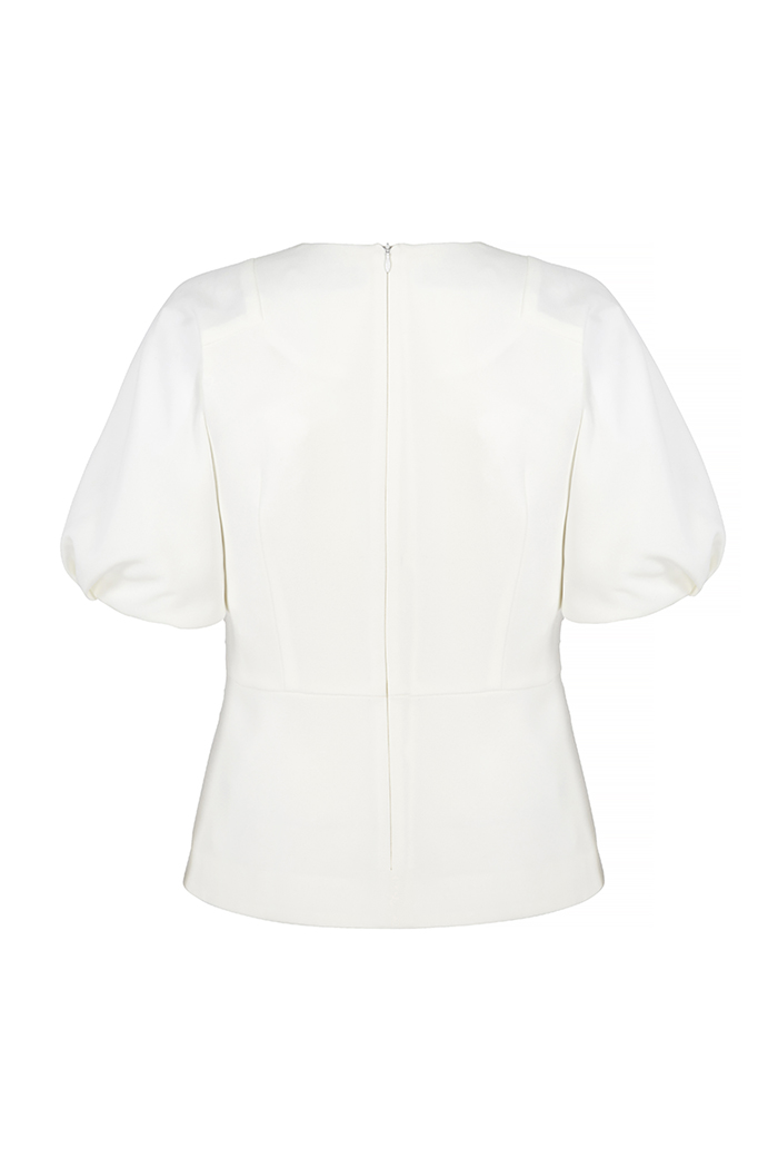 Balerna Top Ivory Textured Crepe