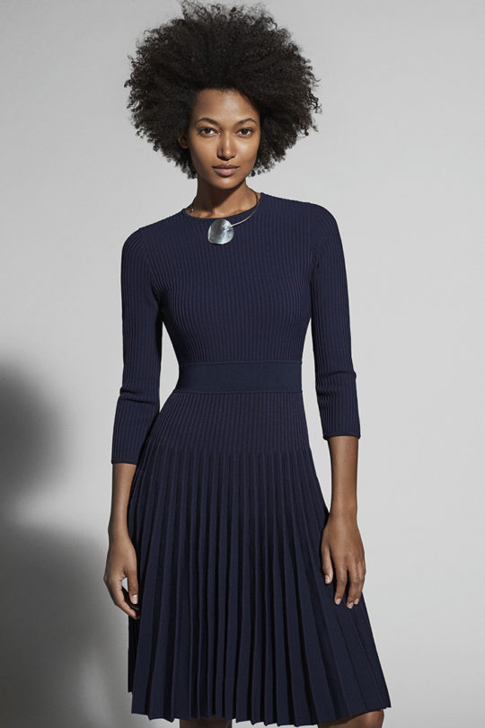 Bouverie Dress Navy Rib Knit