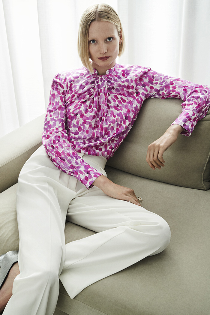 Allandale Blouse Ivory And Magenta Silk Mix