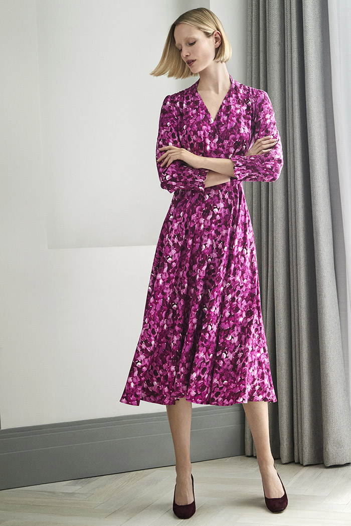 Reeves Dress Magenta Printed Viscose