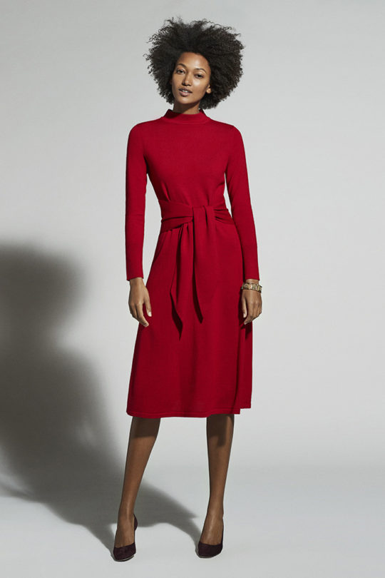Allerton Dress Garnet Red Merino Wool