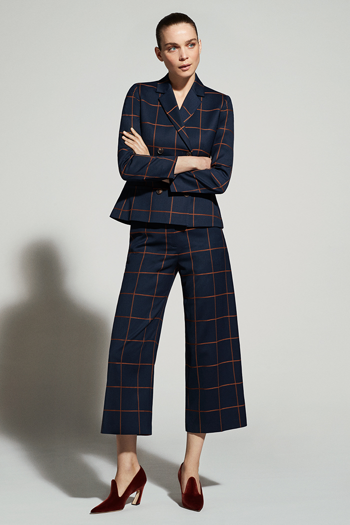 Astwood Culottes Toffee And Navy Check Wool