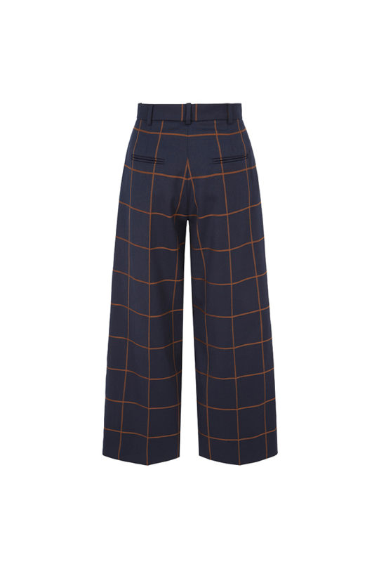 Astwood Culottes Toffee And Navy Check Wool 3