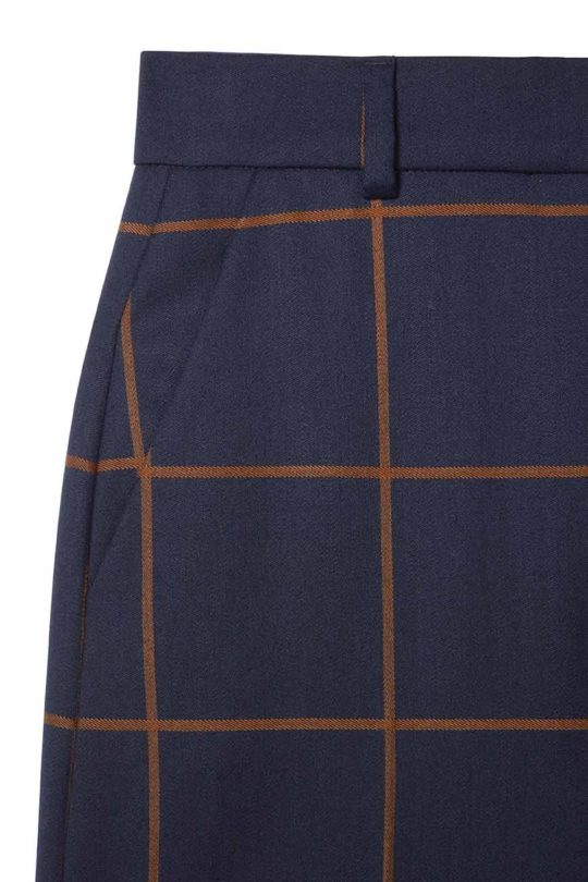 Astwood Culottes Toffee And Navy Check Wool 4