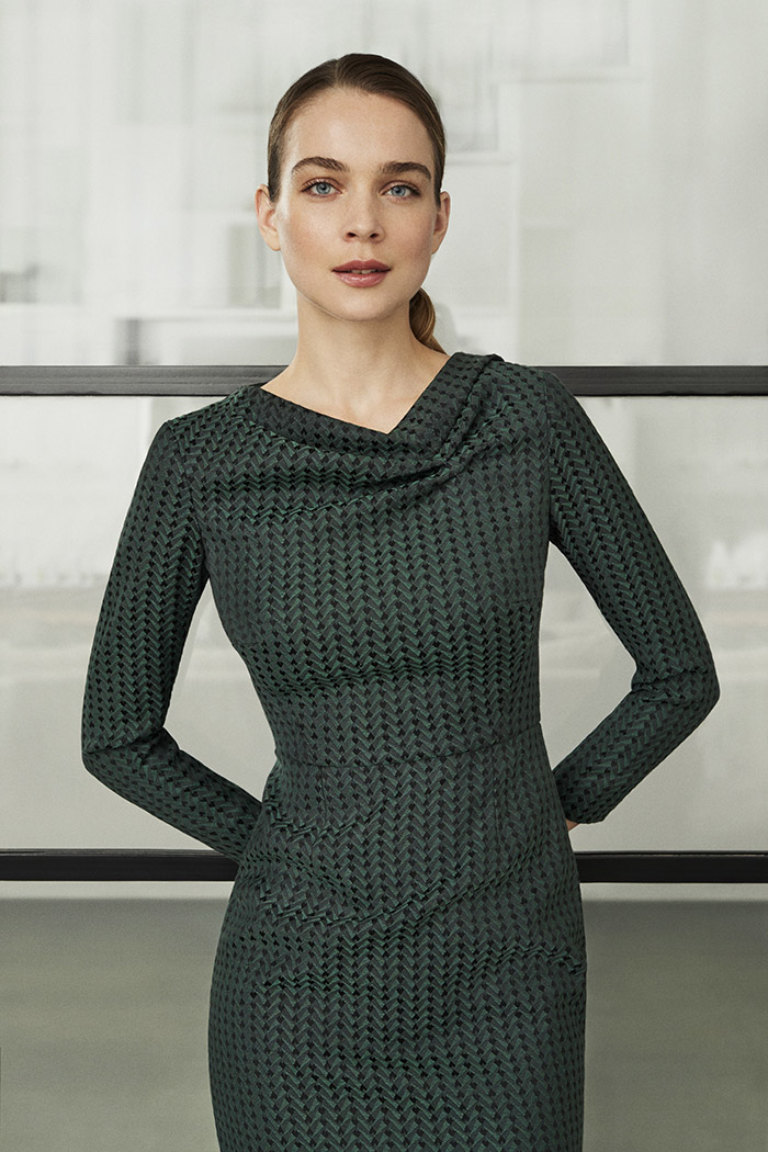 Calcot Dress Green Jacquard