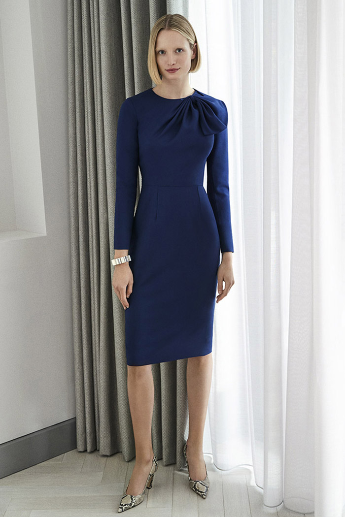 Cliveden Dress Indigo Wool Crepe