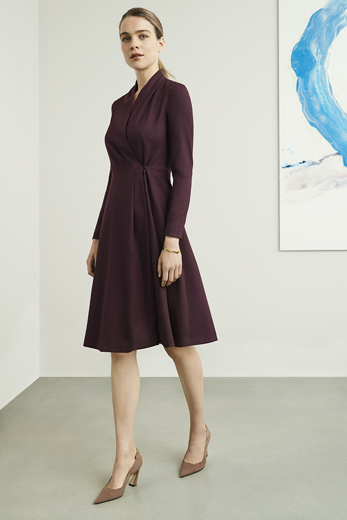 Hampton Dress Plum Wool Crepe