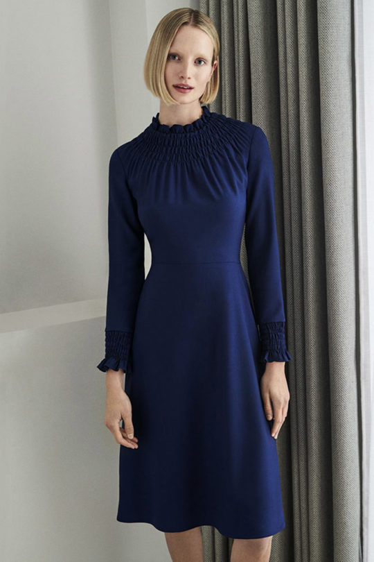Highclere Dress Indigo Wool Crepe