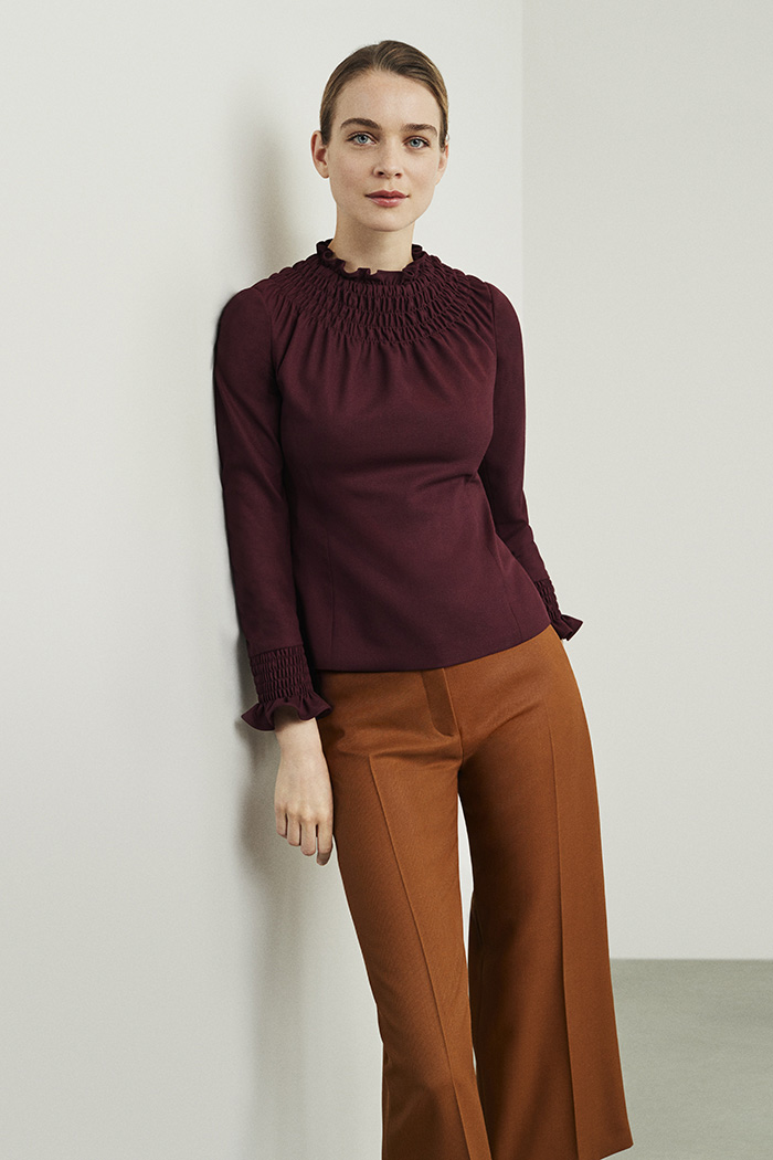 Highfield Top Plum Wool Crepe
