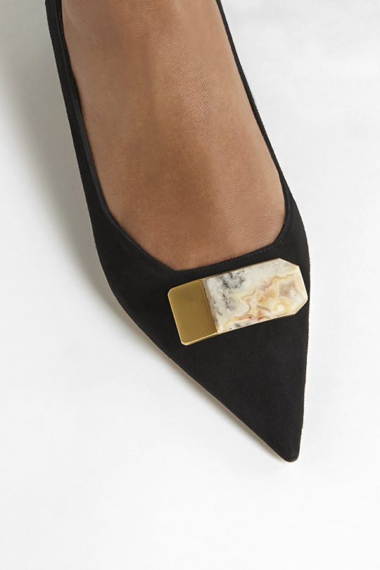 Siena 25 Black Suede With Semi-Precious Stone 4