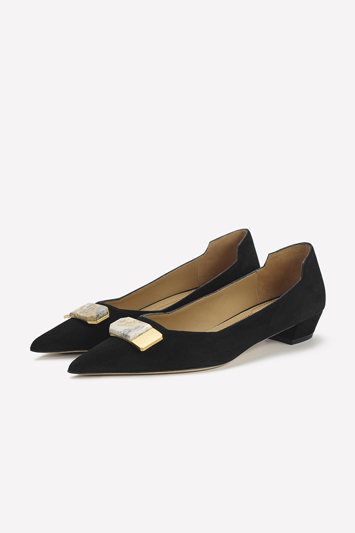 Siena 25 Black Suede With Semi-Precious Stone