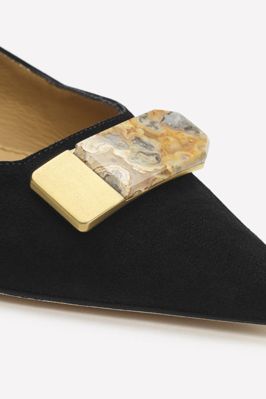Siena 25 Black Suede With Semi-Precious Stone 8