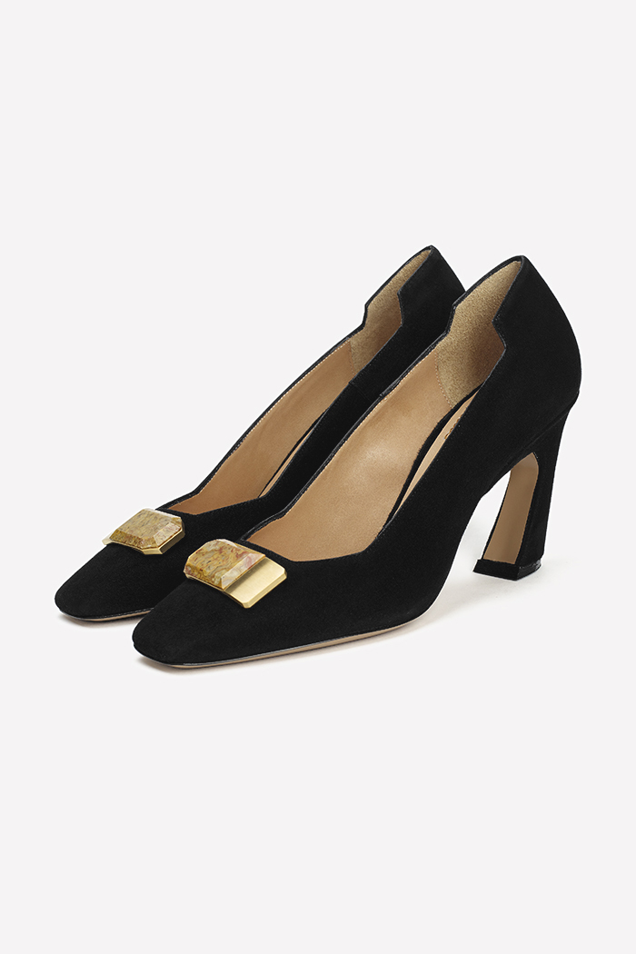 Venezia 80 Black Suede With Semi-Precious Stone