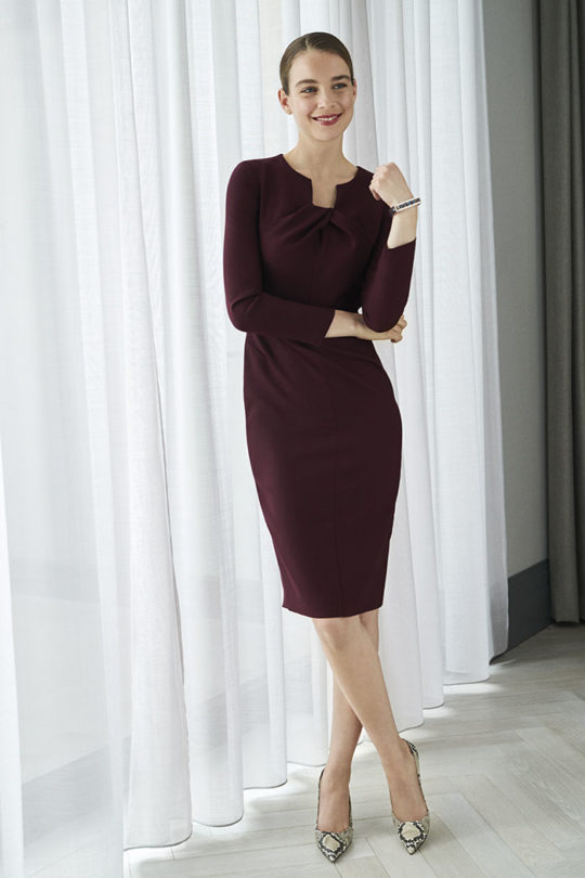 Waverley Dress Plum Wool Crepe 1