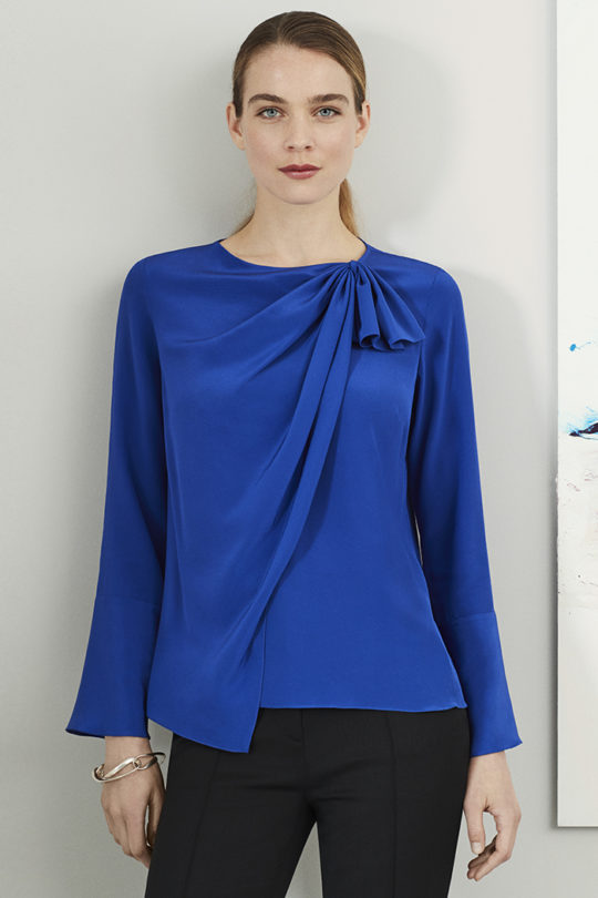 Adeline Blouse Blue Silk 1