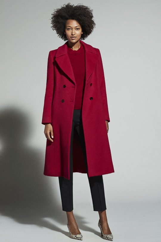 Aldwych Coat Garnet Red Wool