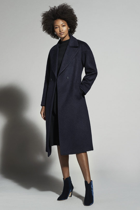 Connaught Coat Navy Wool