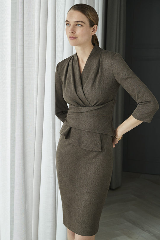 Arlington Dress Truffle Herringbone Jersey