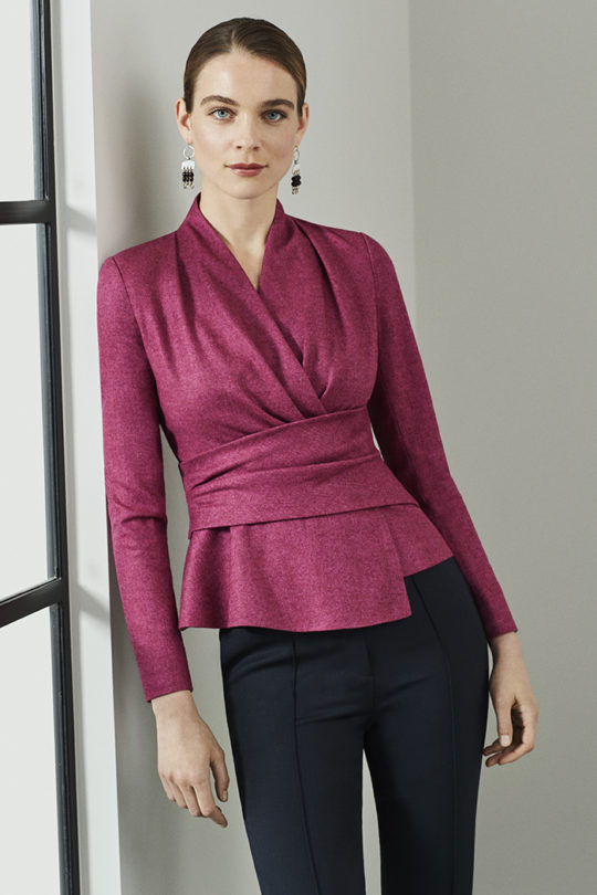 Belleville Top Magenta Wool Herringbone