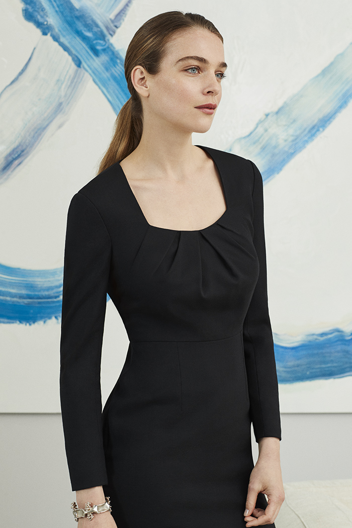 Camborne Dress Black Wool Crepe