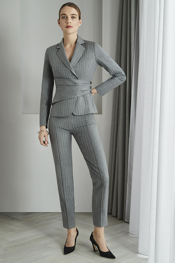 Collingham Trousers Grey Pinstripe