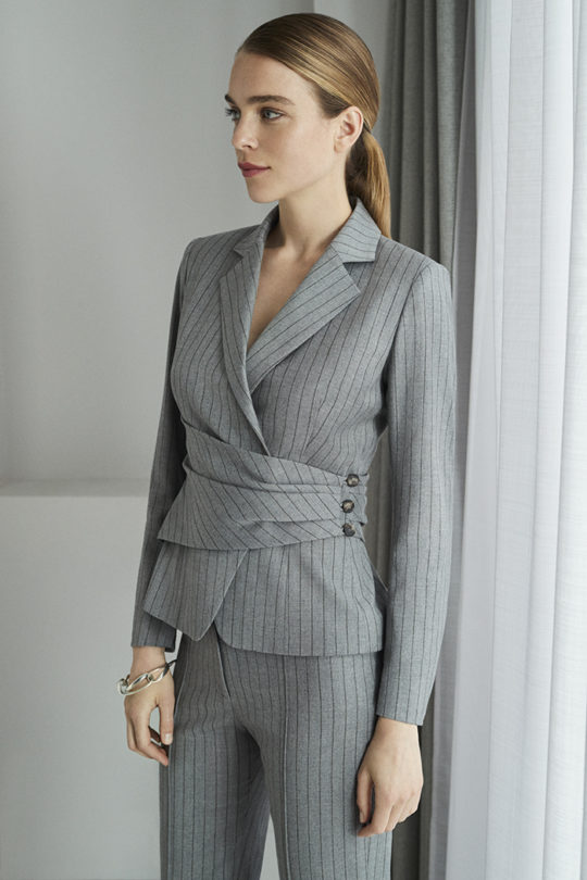 Collingham Jacket Grey Pinstripe