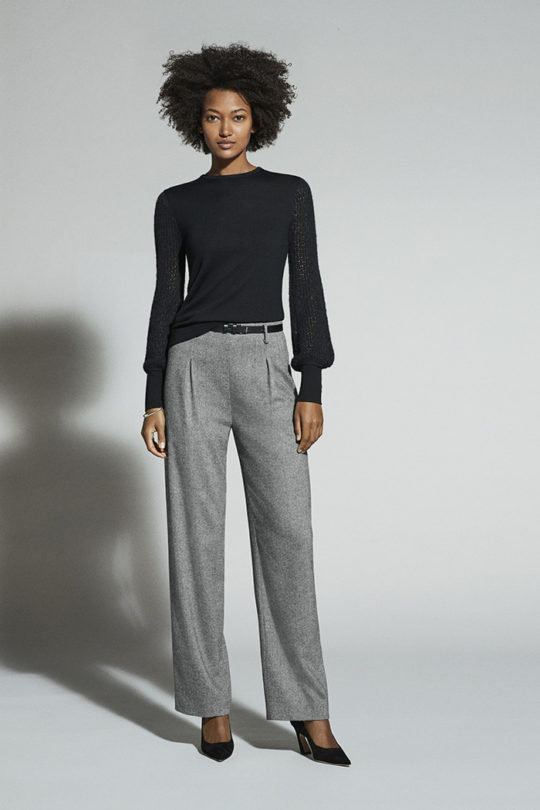 Crawford Trousers Black And White Wool Herringbone