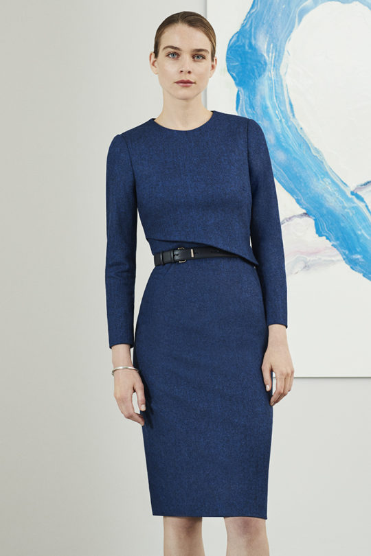Fitzrovia Dress Indigo Wool Tweed 1