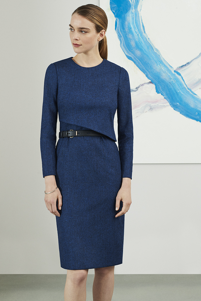 Fitzrovia Dress Indigo Wool Tweed