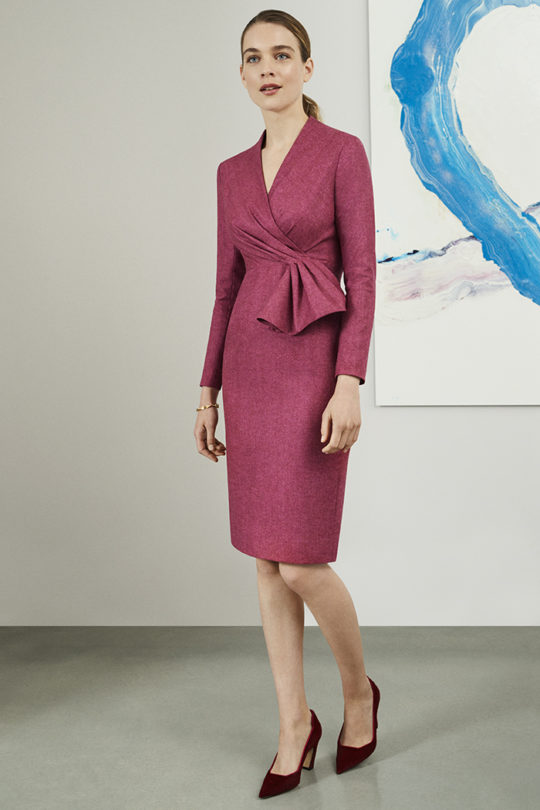 Hardwick Dress Magenta Wool Herringbone
