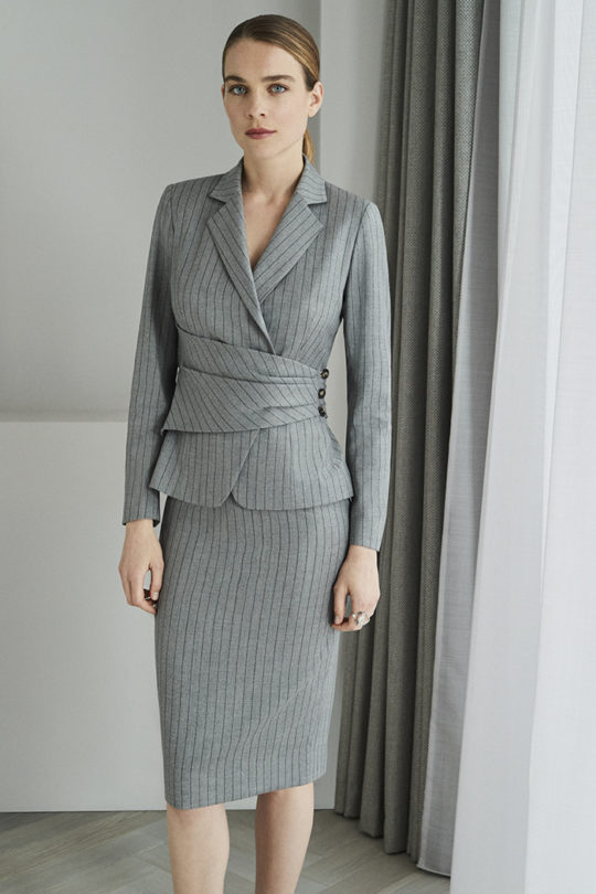 Collingham Skirt Grey Pinstripe