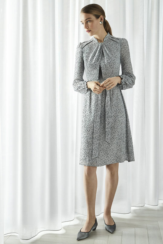 Haslemere Dress Grey Dotty Viscose 2