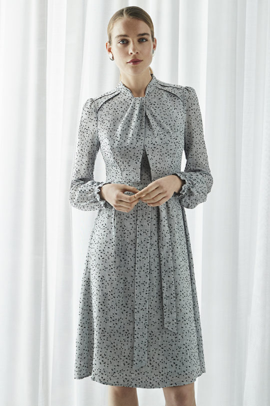 Haslemere Dress Grey Dotty Viscose