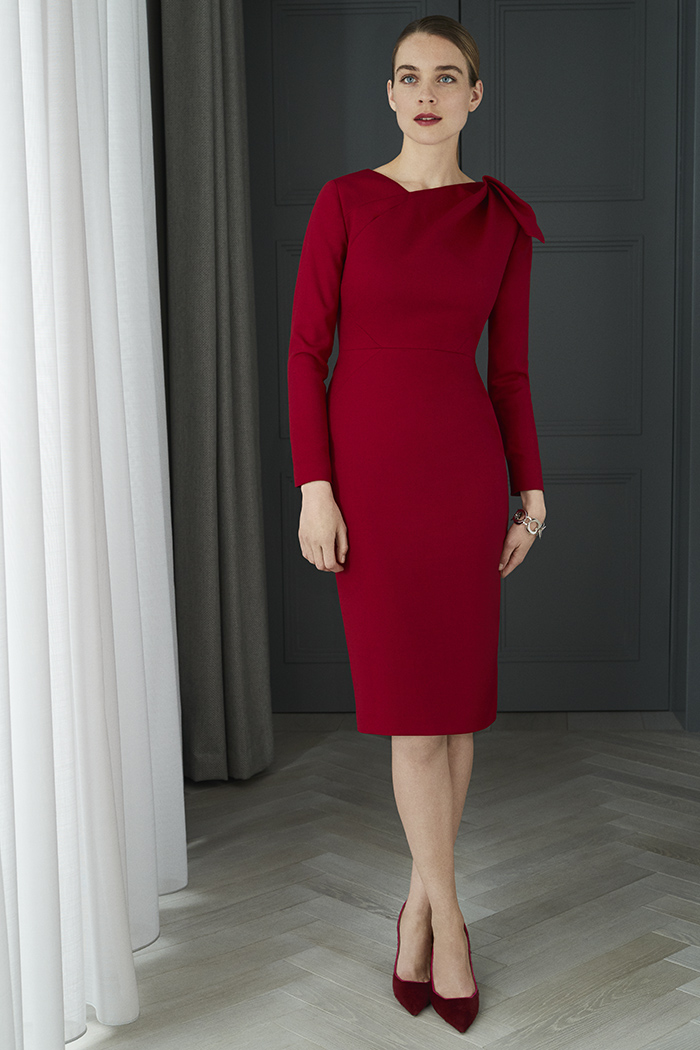 Melrose Dress Garnet Red Wool Crepe