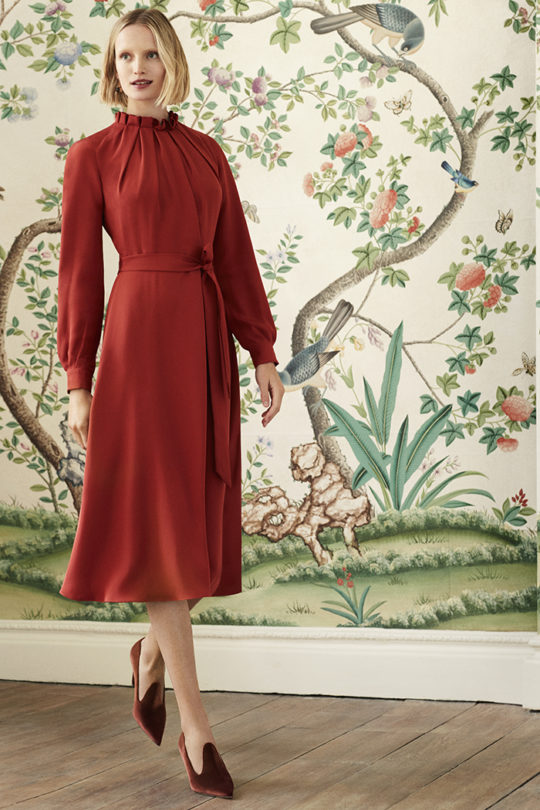 Aldbury Dress Garnet Red Silk