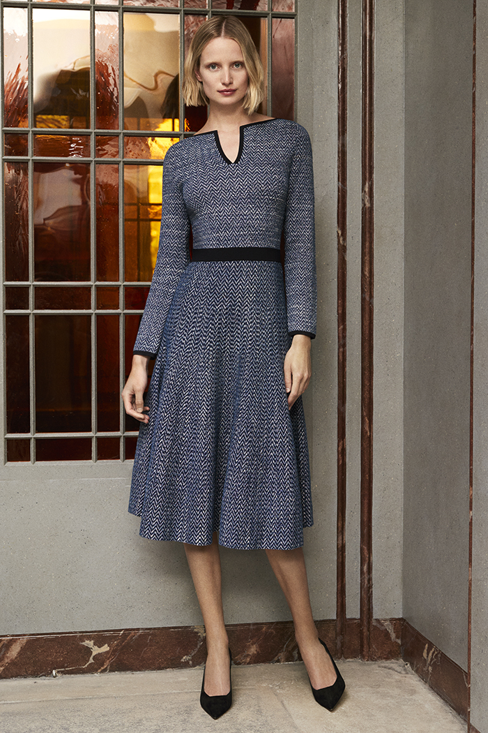 Alder Dress Navy And Ivory Knitted Tweed