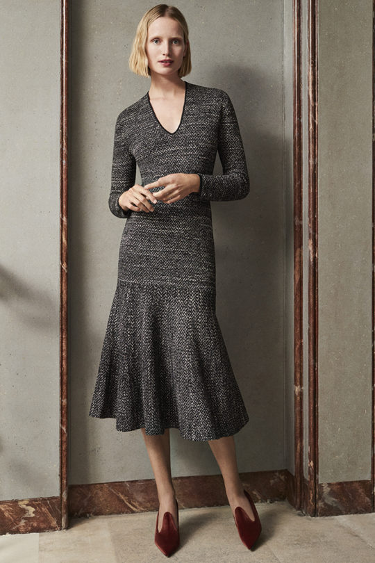 Osterley Dress Black And Ivory Knitted Tweed