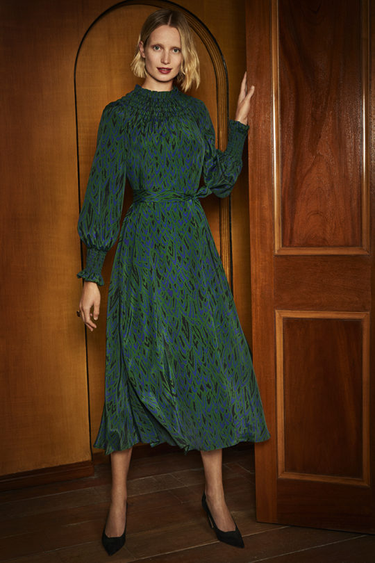 Richford Dress Green Silk