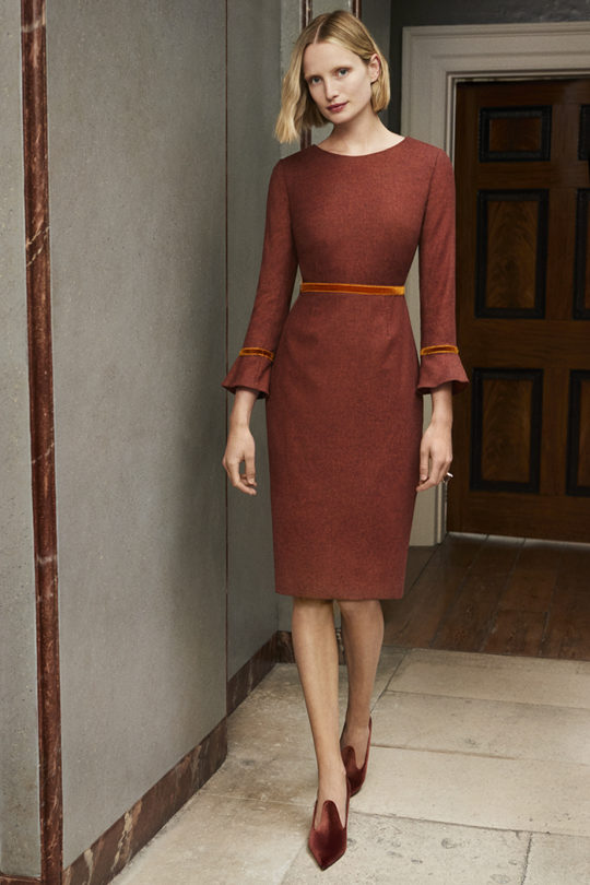 Rosnaree Dress Rust Wool Tweed