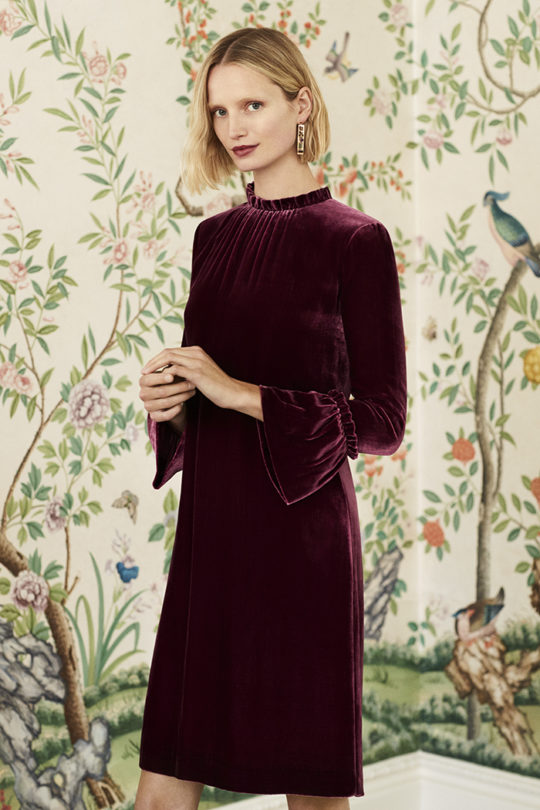Verona Dress Burgundy Silk Velvet