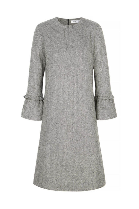Verona Dress Black And White Wool Herringbone