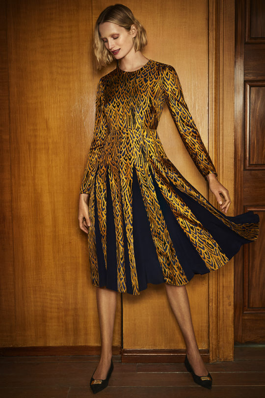 Hepburn Dress Tuscany Gold Silk