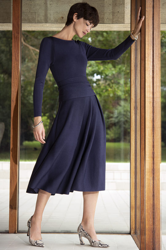 Knitted Camelot Dress Indigo Blue Viscose 1