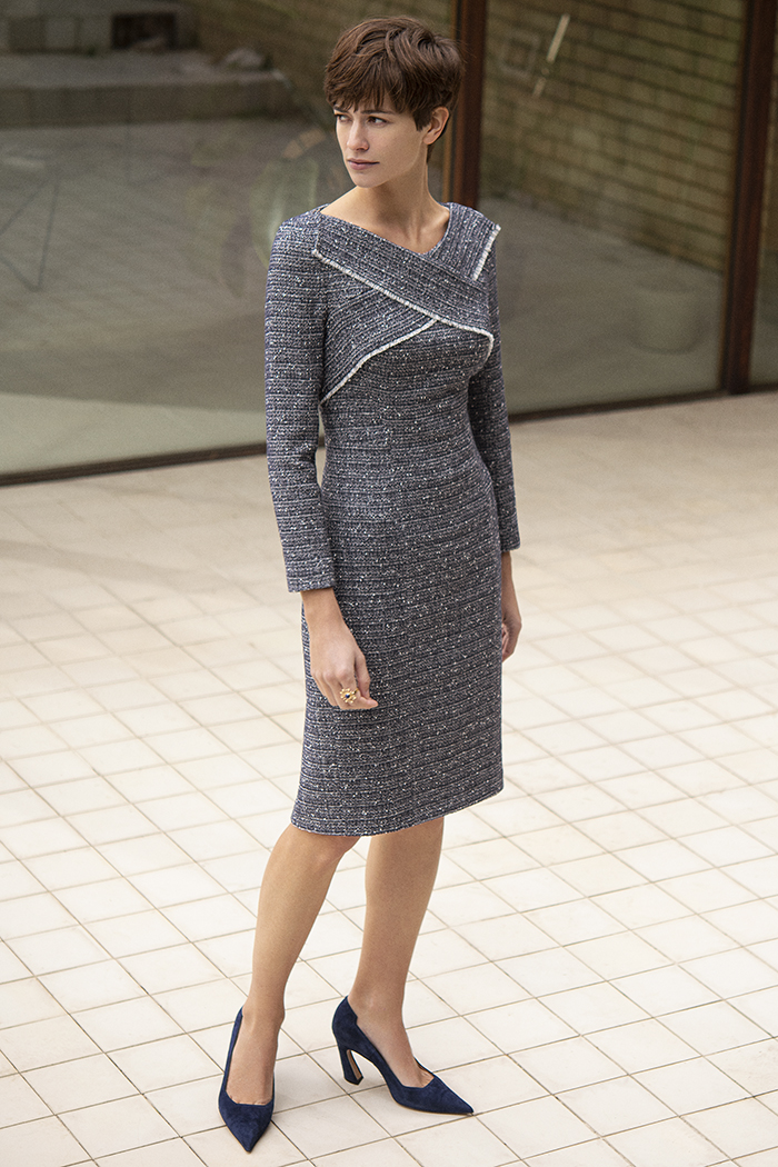 Glenmore Dress Navy Tweed